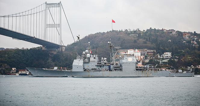 ABD savaş gemisi USS Monterey'in İstanbul Boğazı geçişinde dikkat çeken detay