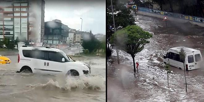 Ankara'da sağanak etkili oldu, yollar göle döndü