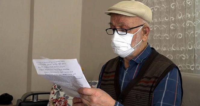 Aşı vurulmaya ikna olan Mehmet amca Cumhurbaşkanına şiir yazdı
