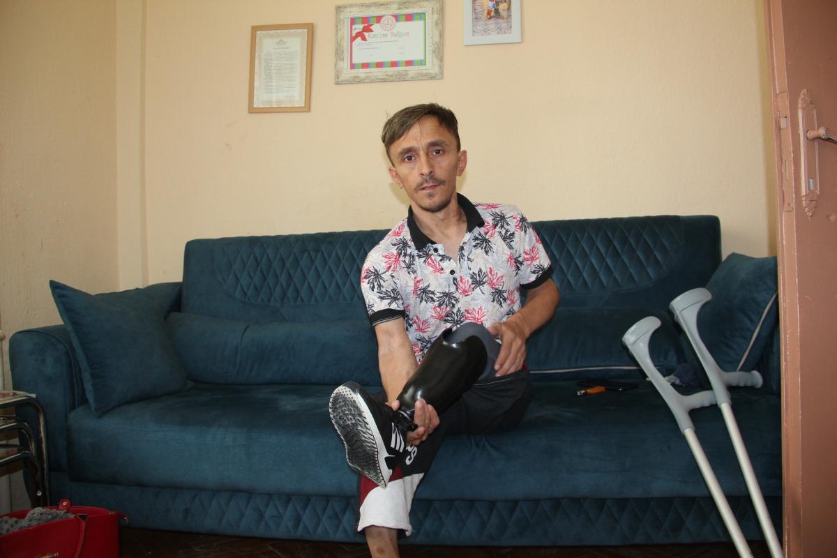 Bacağı kesilen şahıs protez için yardım severlerden destek bekliyor