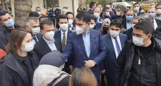 Bakan Kurum'dan Açelya Apartmanı mağdurlarına ziyaret