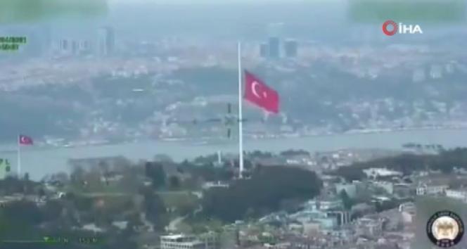 Bakan Soylu, en büyük Türk bayrağının Polis Havacılık Daire Başkanlığınca kayda alınan görüntülerini paylaştı