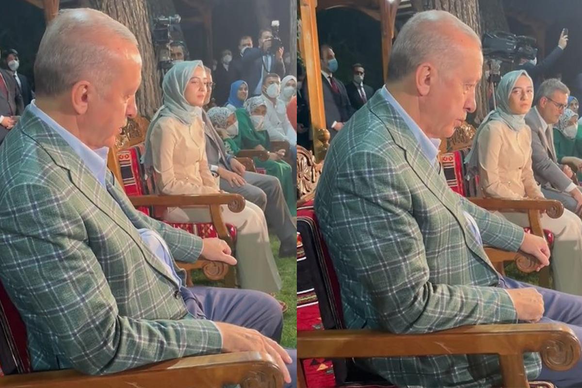 Cumhurbaşkanı Erdoğan, şiirini dinlerken gözyaşlarını tutamadı