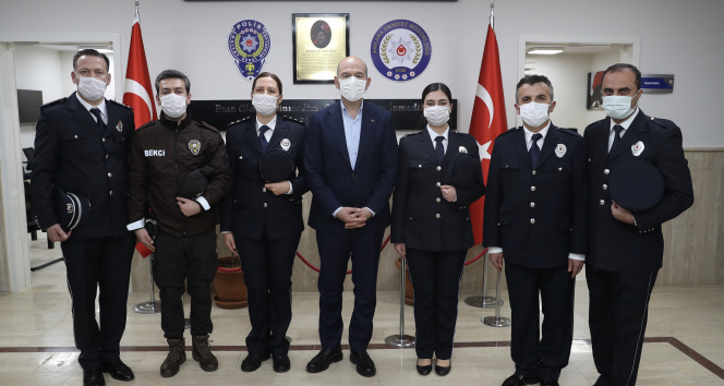İçişleri Bakanı Soylu, Şehit Behram Aktaşlı Polis Merkezi Amirliğini ziyaret etti