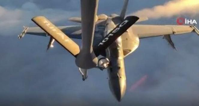 MSB, ABD'ye ait F-18 savaş uçağına yapılan yakıt ikmalinin görüntülerini paylaştı