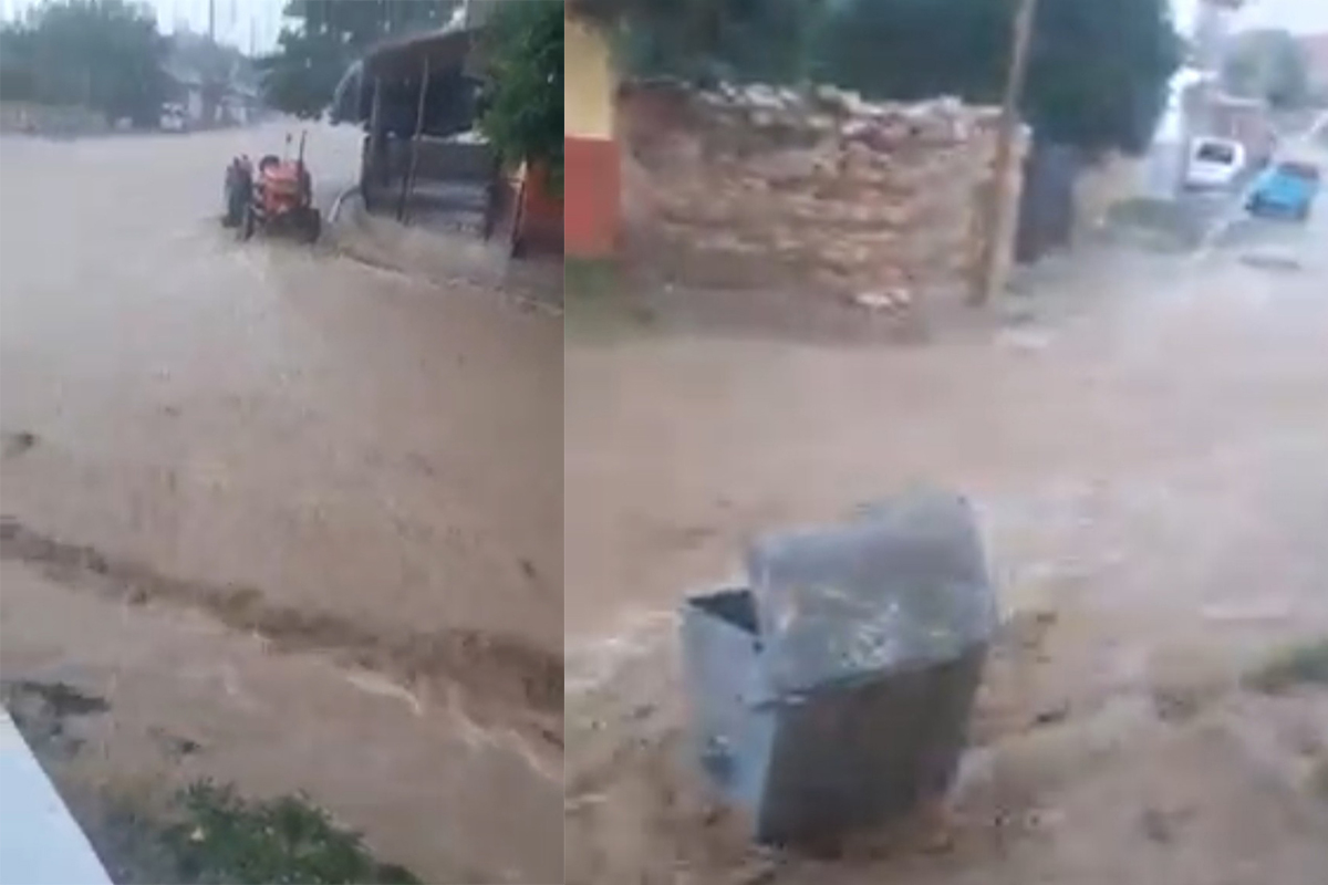 Şiddetli yağış köy yollarını dereye çevirdi