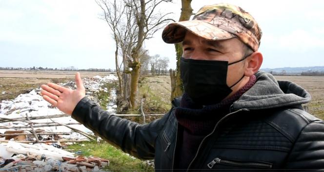 Sinop'ta çeltik tarlasına hafriyat döktüler, çiftçi tepki gösterdi