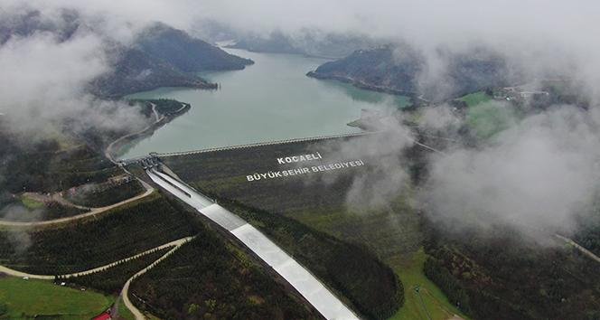 Su seviyesinin yüzde 98'e ulaştığı Yuvacık Barajı havadan görüntülendi