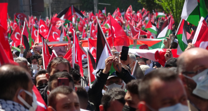 Trabzon'da vatandaşlar Filistin'e destek için yürüdü