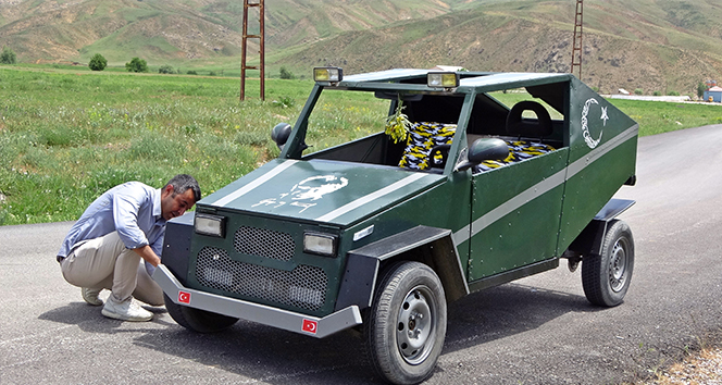 Yüksekovalı çoban 20 litre benzinle 150 kilometre giden 'Hummer' tarzı araba yaptı