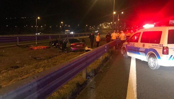 Ankara'da kontrolden çıkan otomobil bariyerlere çarptı: 2 ölü, 5 yaralı