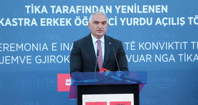 Bakan Ersoy, TİKA'nın restore ettiği Gjirokastra Öğrenci Yurdu'nun açılışına katıldı