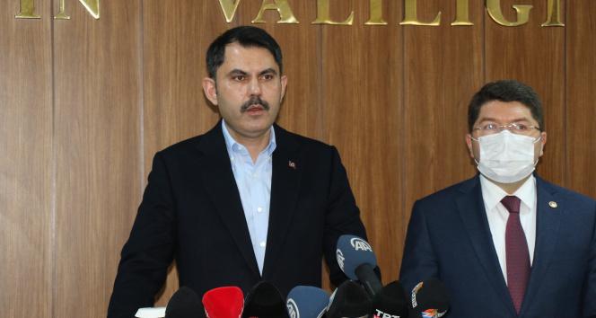 """Bakan Kurum : """"Depremi terörle mücadele kadar önemsiyoruz"""""""