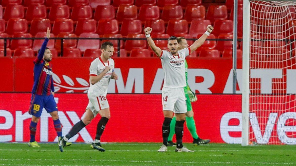Barcelona'yı 2-0 yenen Sevilla final için büyük avantaj elde etti