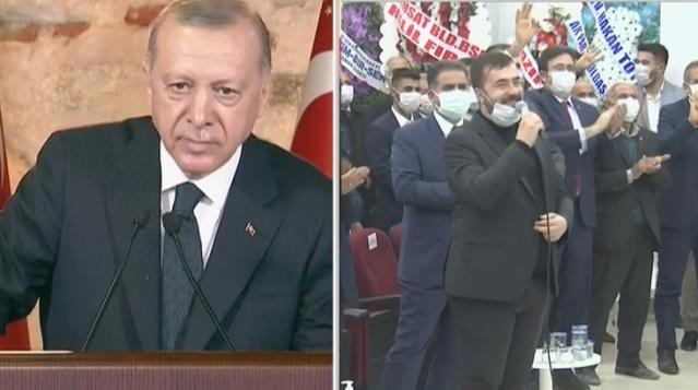 Cumhurbaşkanı Erdoğan, mikrofonu alan partilinin kilosuna takıldı: Az çalışıyorsun, bayağı göbek yapmışsın