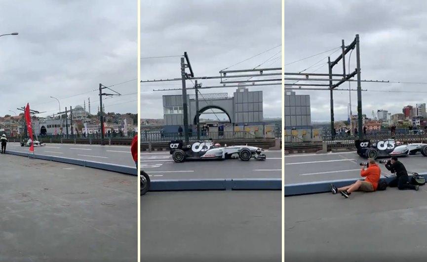 İstanbul'da Yapılacak Olan Formula 1 Organizasyonunun Reklam Çekimleri İçin Galata Köprüsü'nden Formula 1 Aracı Geçti