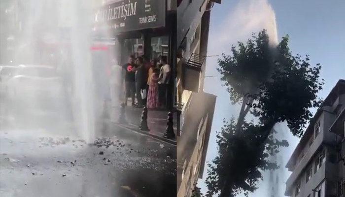 Pendik'te İSKİ borusu patladı, fışkıran su apartman boyuna ulaştı